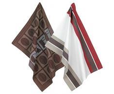 Kela Geschirrtuch Kaffee Set, Baumwolle, braun/weiß/rot, 43,5x 28,5cm, 2-teilig