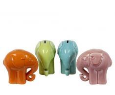 Urban Trends Keramik Elefant Bank (Set von 4), glänzend, Moos grün, Sky Blau, Orange und Pink