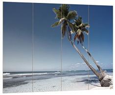 Pixxprint Zwei Palmen ragen über das Wasser schwarz/weiß, MDF Bretterlook Format: 80x60cm, Wanddekoration Holzbild, Holz, bunt, 80 x 60 x 2 cm