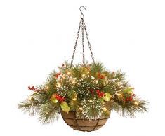 National Baum 50,8 cm winterlichen Kiefer Hängekorb mit AST Zweige, Roten Beeren, Tannenzapfen und 35 batteriebetrieben warmweiß LED Lampen (WP1-388-20hb-1)