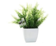OFFIDIX Kunstpflanze aus Kunststoff, künstliche Hauspflanzen, Schreibtischpflanze mit weißer quadratischer Vase für Bauernhaus, Haus, Garten, Büro, Terrasse, Hochzeit und drinnen