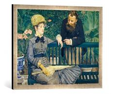 Gerahmtes Bild von Edouard ManetDas Ehepaar Guillemet im Gewächshaus, Kunstdruck im hochwertigen handgefertigten Bilder-Rahmen, 70x50 cm, Silber Raya