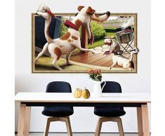T-shin Hunde Wandtattoo, 3D Abnehmbare Raum Aufkleber, Niedliche Tier Wand Aufkleber für Kinder Schlafzimmer WC Küche Büros Multicolor-2