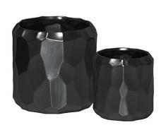 Urban Trends Zylinderförmiger Übertopf geprägtes Muster Design, schwarz