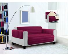 Trendy Sofabezug, gesteppt, Bordeaux/Creme, 3 Plätze