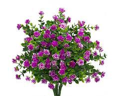 kingbuy Künstliche Blumen 5 Bündel Outdoor UV-beständig Pflanzen Sträucher Kunststoff Blätter Fake Büsche grün für Pflanzen Blumentopf für drinnen Außen Aufhängen Home Terrasse Yard Garten Decor Fenster Box rot
