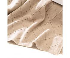 sundaykit Gestrickte Decke aus mongolischem Kaschmir in allerbester Qualität Made in Germany. 180 x 140 cm, Lochmuster in Rautendesign