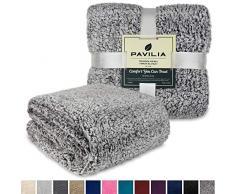 Pavillia Überwurfdecke aus Plüsch Sherpa für Couch Sofa, flauschiger Microfaser Fleece Überwurf, weich, flauschig, gemütlich, leicht, solide Decke 60 x 80 Inches Grau meliert