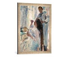 Gerahmtes Bild von Lovis Corinth Die Frau des Künstlers am Frisiertisch, Kunstdruck im hochwertigen handgefertigten Bilder-Rahmen, 50x70 cm, Silber Raya