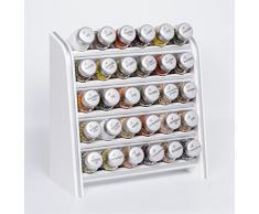 Gald Gewürzregal, Küchenregal für Gewürze und Kräuter, 30 Gläser, Holz, Weiß/matt, 31.5 x 34.5 x 14.5 cm