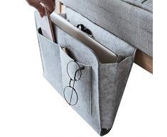 Dewsshine Nachttisch Organizer Nachttisch mit Tasche für Fernseher-Fernbedienung, Handys, Zeitschriften, Tablets, Zubehör grau