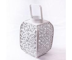 Laterne Metall weiß perforiert cm 18h27