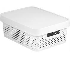 Curver 04760-N23-00 Aufbewahrungsbox Infinity Punkte mit Deckel 4,5L in Plastik 26.8 x 18.6 x 12.4 cm, weiß