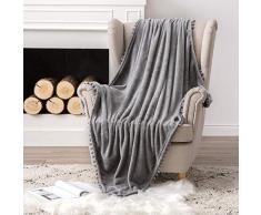 MIULEE Ultra weiche Fleecedecke Luxuriös Fuzzy für Couch oder Sofa, leicht, flauschig warm, Bettdecke mit niedlichen Pompons Twin(60x80) grau