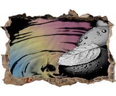 Pixxprint 3D_WD_5073_92x62 Blatt auf Zen Steinen im Wasser Wanddurchbruch 3D Wandtattoo, Vinyl, schwarz / weiß, 92 x 62 x 0,02 cm