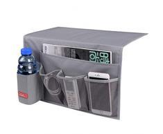 Falaku Nachttisch-Ablage mit 5 Taschen, Nachttisch Organizer Unterlage für Wasserflaschen, Zeitschriften, Bücher dunkelgrau
