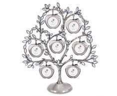 QTMY Stammbaum aus Metall mit 7 hängenden Apfel-Bilderrahmen Collage Schreibtisch Ornamente