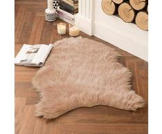 MIULEE Super weicher Flauschiger Teppich Kunstfell-Teppich Dekorativer Plüsch Zottelteppich für Nachttisch, Sofa, Boden, Kinderzimmer 2 x 3 ft Sheepskin Khaki