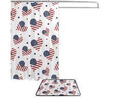 Amerikanische Flagge 4. Juli Independence Memorial Day Patriotische Herzen Wasserdicht Polyester Stoff Vorhang für die Dusche (152,4 x 182,9 cm) Set mit 12 Haken und Bad-Teppiche Teppiche (59,9 x 39,9 cm) für Badezimmer – Set von 2