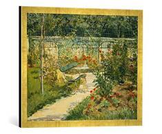 Gerahmtes Bild von Edouard Manet Bank im Blumengarten von Versailles, Kunstdruck im hochwertigen handgefertigten Bilder-Rahmen, 70x50 cm, Gold Raya