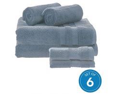 iDesign 6er-Set Badtextilien für das Badezimmer und Gäste-WC, weiches Handtücherset aus 100% Baumwolle, Handtuch Set mit je 2 Handtüchern, Badetüchern & Waschlappen, taubenblau