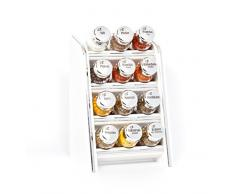 Gald Gewürzregal, Küchenregal für Gewürze und Kräuter, 12 Gläser, Holz, Weiß/glänzend, 17 x 27 x 15 cm