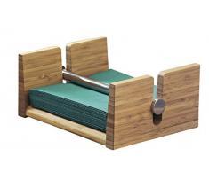 Serviettenhalter TOM aus Bambus, Maße: 20,5 x 17,0 x 9,5 cm, für handelsübliche Servietten 33 x 33 cm, inkl. Beschwerer aus Bambus. In Geschenkverpackung.