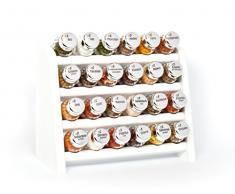 Gald Gewürzregal, Küchenregal für Gewürze und Kräuter, 24 Gläser, Holz, Weiß/glänzend, 31 x 27 x 15.5 cm