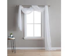 DecoSource Fenstervorhänge für Schlafzimmer, Wohnzimmer, Küche, Kinderzimmer und Outdoor, strapazierfähiges Polyester, 2 Stück, Textil, weiß, 1 Scarf 54 x 216
