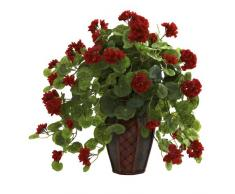 Nearly Natural 6777 Geranie mit dekorativem Übertopf, grün/rot