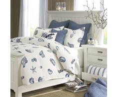 Harbor House Strandhaus Bettbezug Twin Size - Blau Elfenbein , Muscheln Bettbezug Set - 2 teilig - 100% Baumwolle Leichte Bettdecke Bezüge Traditionell King blau