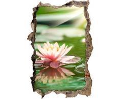 Pixxprint 3D_WD_S2101_92x62 schöne Seerose auf Wasser Wanddurchbruch 3D Wandtattoo, Vinyl, bunt, 92 x 62 x 0,02 cm