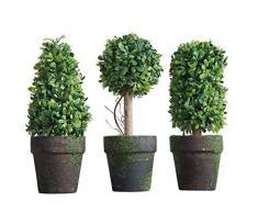 PVC Formschnitt im Topf Set von 3 Styles Kunstpflanze Strauch Bush Country Home Garden Décor