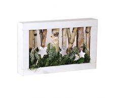 EUROCINSA Wand/Tisch aus weißem Holz mit Zweigen, Sternen und LED-Leuchten, 37 x 6 x 23 cm. 1 Stück, MDF, Einheitsgröße