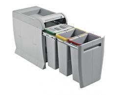 ELLETIPI City PTA 3045 C Mülleimer Mülltrennung, ausziehbar für Base, grau, 28 x 47 x 44 cm