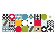 Laroom 14161-Teppich Bollato Mosaik Fliesen Küche 140cm, Farbe Mehrfarbig