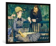 Gerahmtes Bild von Edouard Manet Das Ehepaar Guillemet im Gewächshaus, Kunstdruck im hochwertigen handgefertigten Bilder-Rahmen, 100x70 cm, Schwarz matt