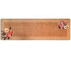 DECO-MAT Rutschfester Teppich-Läufer ohne Rand für den Innenbereich oder Eingangsbereich, 80 x 250 cm, antike blumen / beige