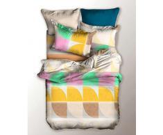 DecoKing 04333 Bettwäsche 135x200 cm Kinderbettwäsche mit 1 Kissenbezug 80x80 Bettwäscheset Bettbezüge Microfaser Bettwäschegarnituren Reißverschluss Basic Collection Honey weiß grün rosa creme beige grau