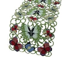 Xia Home Fashions Schmetterlinge Bestickt Durchbrucharbeit Spring Tisch Läufer, 15 Zoll von 137