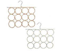 Katahomie Schal Kleiderbügel Halter Schal Organizer Platzsparend mit 12 Ringen für Krawatten, Kleidung, Hosen, 2 Stück zufällige Farbe