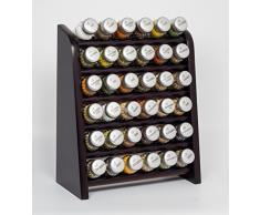 Gald Gewürzregal, Küchenregal für Gewürze und Kräuter, 36 Gläser, Holz, Venge (schwarz)/matt, 31.5 x 41 x 16 cm