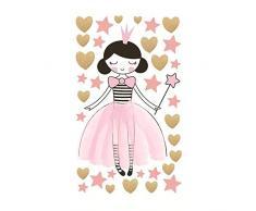AIYANG Ayang Wandaufkleber für Mädchen, Herzen, Sterne, reflektierend, für Babyzimmer, Schlafzimmer, Nachttisch Princess