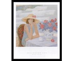 Buyartforless Poster Nachmittags-George Xiong, gerahmt, abstrakte Figurative Frau sitzt am Tisch mit Tee- und Blumentopf, Weiß