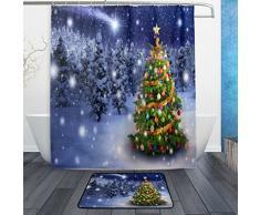 Merry für Wasserdicht Polyester Stoff Vorhang für die Dusche (152,4 x 182,9 cm) Set mit 12 Haken und Bad-Teppiche Teppiche (59,9 x 39,9 cm) für Badezimmer – Set von 2, Polyester-Mischgewebe, Multi14, 60 x 72 Curtain & 23.6 x 15.7 Mat