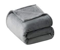 VEEYOO Luxus Flanell Fleece Decke – Extra Weich Warm Kühlung im Sommer Leicht Bett Decke, Alle Jahreszeiten Antistatisch Couch Decke Reisen Camping Decke Twin-60*80inch Grau
