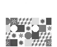 Laroom 14172-Teppich Bollato Küche Fliesen Loft 80cm, Schwarz und Grau