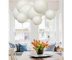 A Liittle Tree 9 Stück gemischte neue runde Papierlaternen Lampions Lampe Hochzeit Geburtstag Party Dekoration (weißer Farbton)