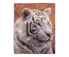 Lavish Home 64-Sherpa Fleecedecke White Tiger Print weiß