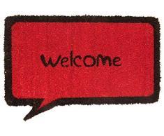 oKu-Tex Fußmatte Kokos, Kokosmatte, Comic Design, Welcome, rutschfest, für innen und außen, Kokosfaser, schwarze Aufschrift, rot, 35 x 60 cm